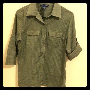 Karen Scott olive green blouse sz S